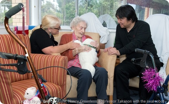 Professor Takanori is in Australia from Japan to meet with Professor Wendy Moyle to talk about the robots for dementia. At Sinnamon Park Retirement Village.