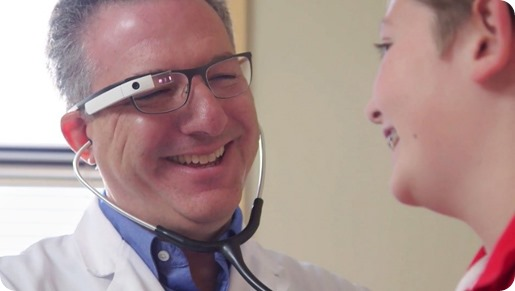 Physician wearing smart glasses