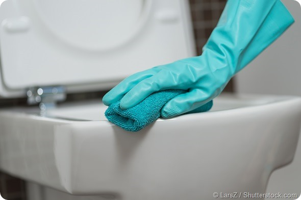 Hand of a person cleaning the toilet seat in rubber gloves with a sponge disinfecting the underside for germs and bacteria while performing household chores