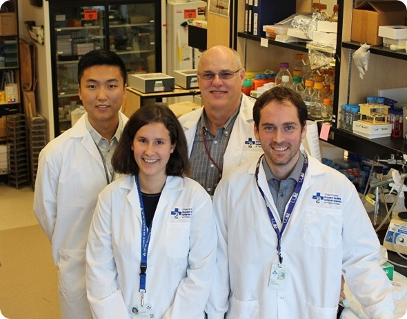 Left to right Will Wang, Dr. Caroline Brun, Dr. Michael Rudnicki and Dr. Nicolas Dumont