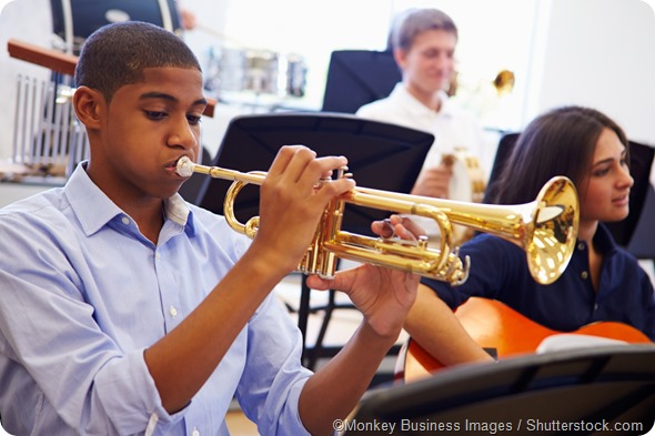 pupil playing trumpet