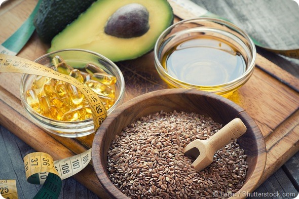 Sources of omega 3 fatty acids flaxseeds, avocado, oil capsules and flaxseed oil
