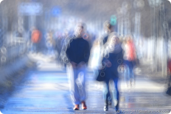 blurred background defocusing city people crowd