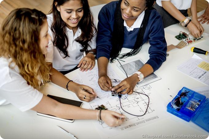 girl students electronics