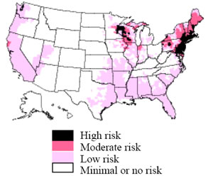 this map demonstrates an approximate distribution of predicted lyme disease risk in the united states the true relative risk in any given county compared